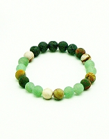 Lava Gemstone Aromatherapy Bracelet - Australian Brown Zebra Jasper & Green Adventurine Genuine Unpolished Gemstones