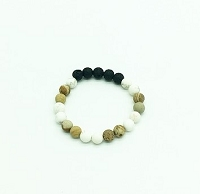 Lava Gemstone Aromatherapy Bracelet - White Turquoise & Australian Brown Zebra Jasper Genuine Unpolished Gemstones