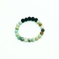 Lava Gemstone Aromatherapy Bracelet - Amazonite Genuine Unpolished Gemstones
