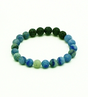 Lava Gemstone Aromatherapy Bracelet - Blue Adventurine Genuine Unpolished Gemstones