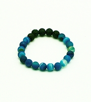 Lava Gemstone Aromatherapy Bracelet - Blue Banded Agate Genuine Unpolished Gemstones