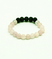 Lava Gemstone Aromatherapy Bracelet - Rose Quartz Genuine Unpolished Gemstones