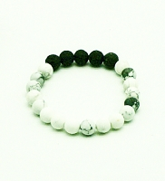 Lava Gemstone Aromatherapy Bracelet - White Turquoise Genuine Unpolished Gemstones